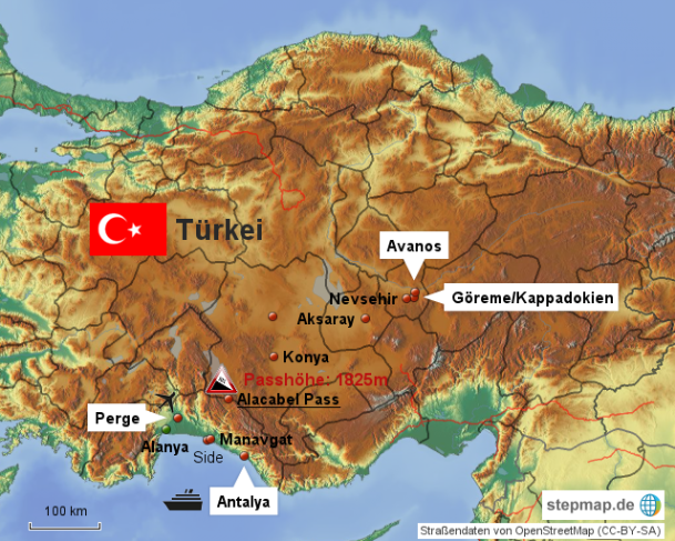 Karte Türkei Kappadokien.Türkei Karte Klaus Edda S Reise Und Wanderseiten Für Bergfreunde